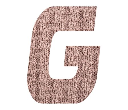 Letter G alphabet with hand knitted back side texture on white background Foto de archivo