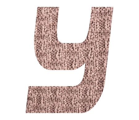 Letter Y alphabet with hand knitted back side texture on white background