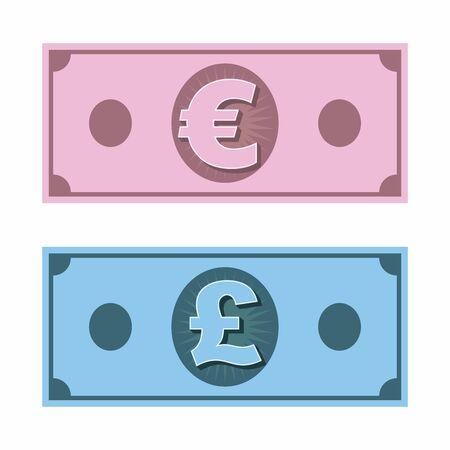 Euro money and British Pound banknote with symbols icon