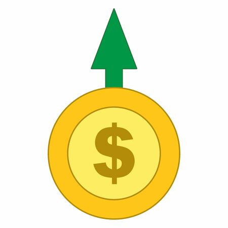 Isolated Dollar coin and Dollar sign with moving up green arrow icon, vector.