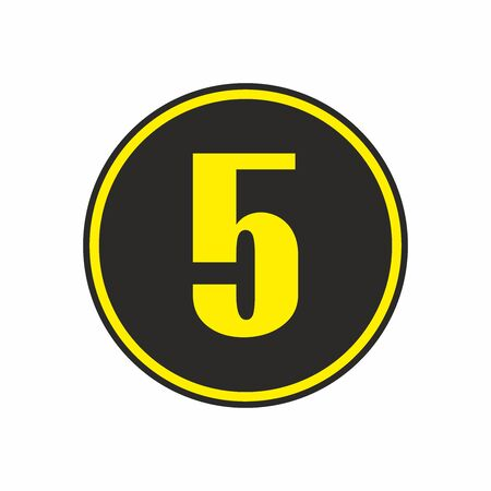 Number five in a circle, vector.