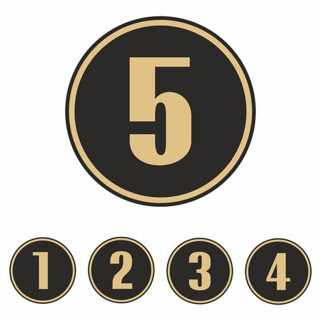 Numbers 1 to 5 with circle, vector. 일러스트