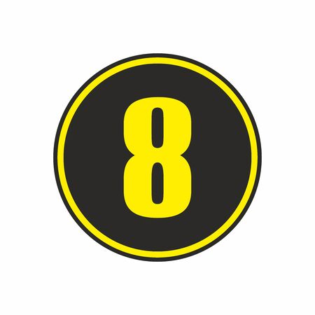 Number 8 in a circle, vector. 일러스트