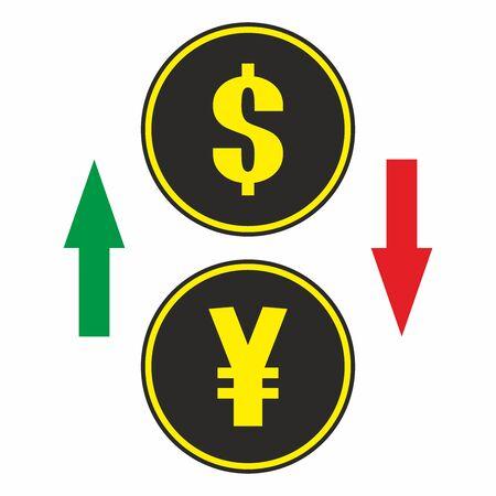 Dollar, Yen sign icon with arrows, vector.