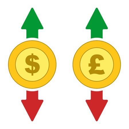Isolated Dollar, Pound coins with moving up and down arrows, vector.