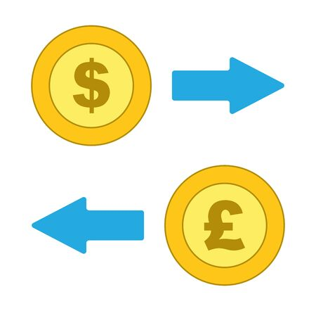 Isolated Dollar and Pound coins with exchange arrows icon, vector. Иллюстрация