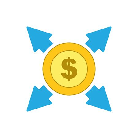 Isolated Dollar coin with arrows, money exchange icon, vector.