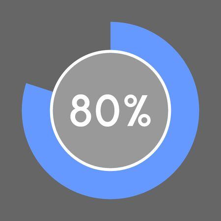Percentage sign icon vector 80 percent.