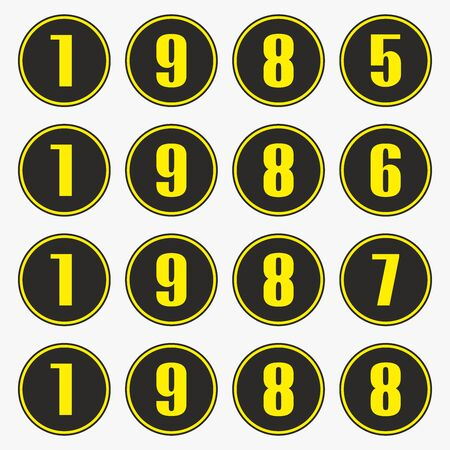 Past years with yellow numbers in a circle shape, 1985,1986,1987,1988 vector. Ilustrace