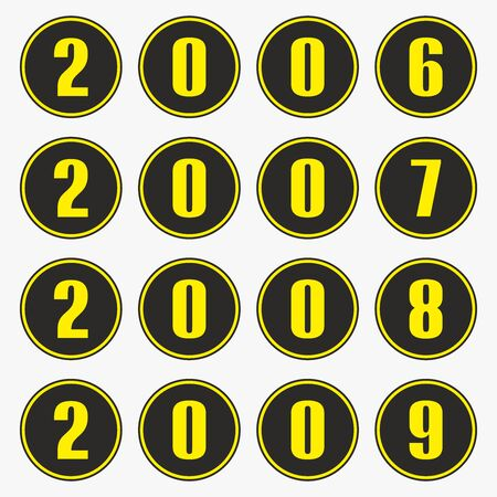 Past years with yellow numbers in a circle shape, 2006,2007,2008,2009 vector. Ilustrace
