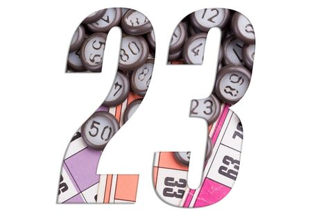 Number 23 with Lotto cards and game chips on white background