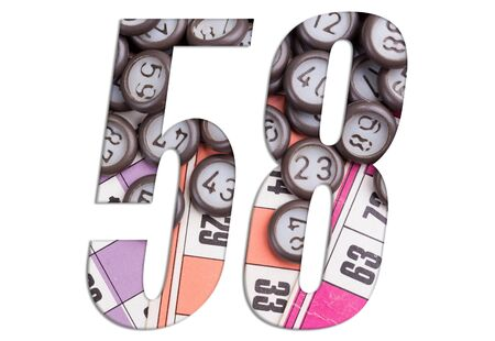 Number 58 with Lotto cards and game chips on white background