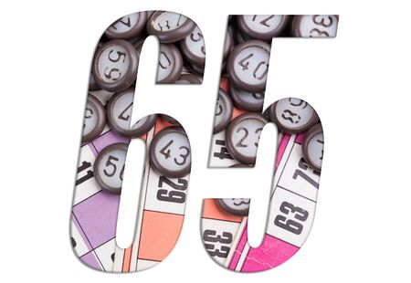 Number 65 with Lotto cards and game chips on white background