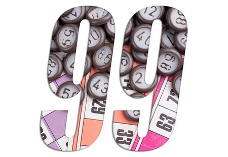 Number 99 with Lotto cards and game chips on white background