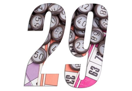 Number 29 with Lotto cards and game chips on white background