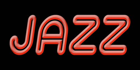 JAZZ word with red shiny text on black background Banco de Imagens