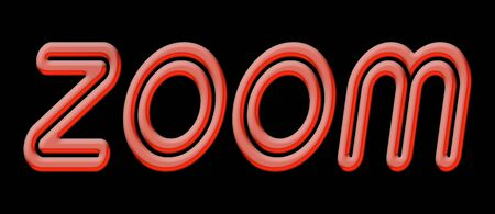 ZOOM word with red shiny text on black background
