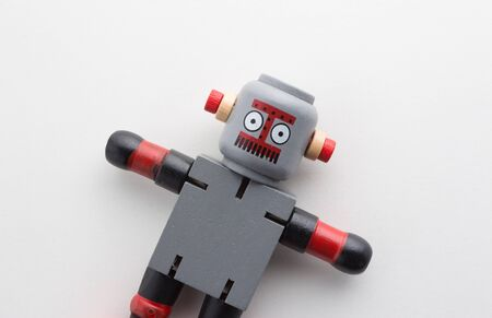 wooden robot on white background. 写真素材