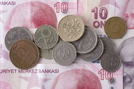Old coins and Turkish Lira Banknotes.