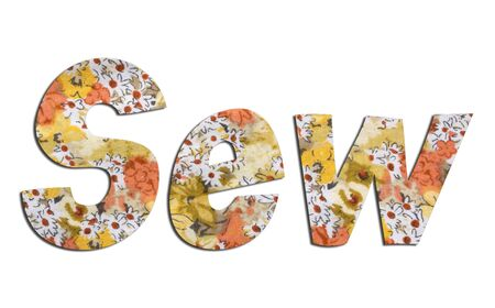 Sew word with floral fabric texture on white background.