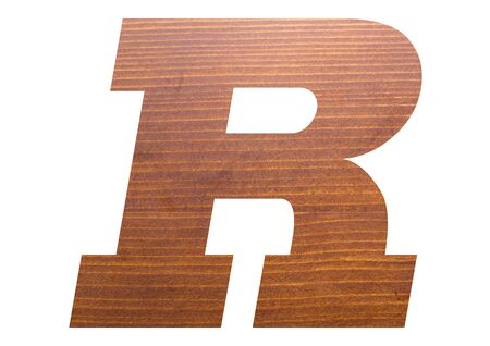 Letter R with wooden texture on white background. 写真素材