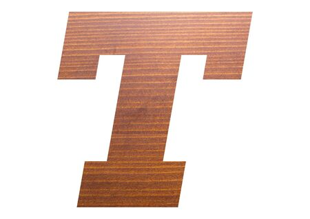 Letter T with wooden texture on white background.