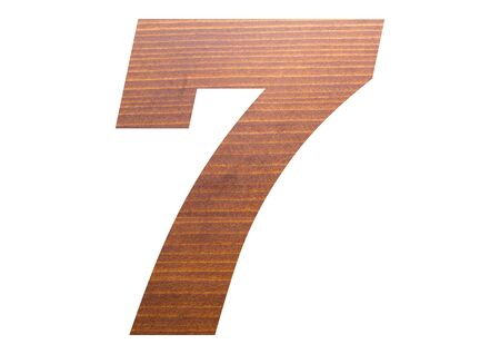 Number 7 with wooden texture on white background.
