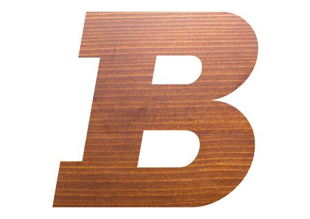 Letter B with wooden texture on white background.