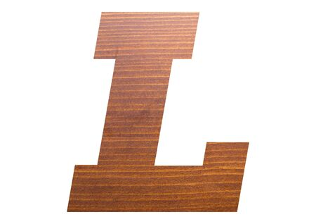 Letter L with wooden texture on white background.