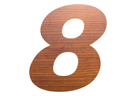 Number 8 with wooden texture on white background. 写真素材