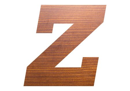 Letter Z with wooden texture on white background. 写真素材
