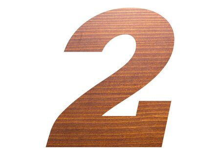 Number 2 with wooden texture on white background.