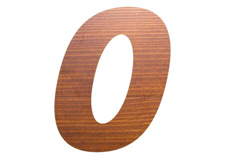 Number zero with wooden texture on white background.
