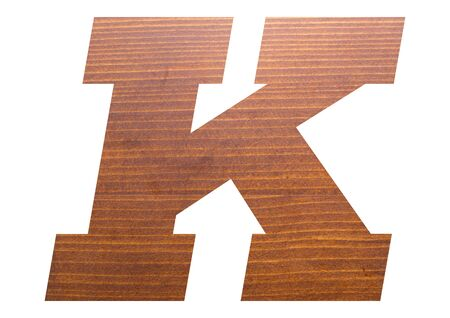 Letter K with wooden texture on white background.