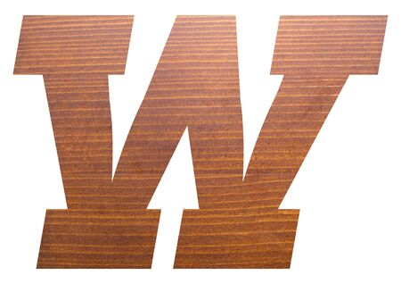 Letter W with wooden texture on white background.