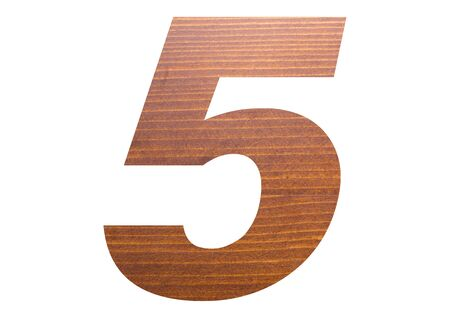 Number 5 with wooden texture on white background.