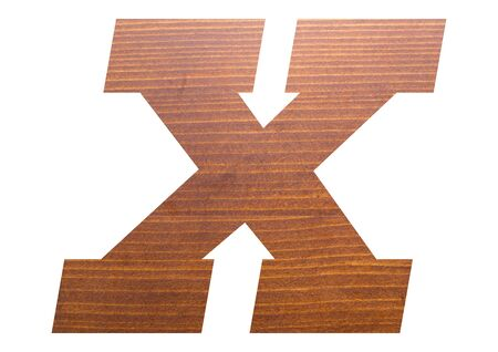 Letter X with wooden texture on white background.