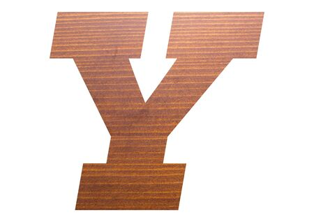 Letter Y with wooden texture on white background. 写真素材