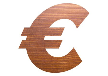 Euro symbol with brown wooden texture on white background.