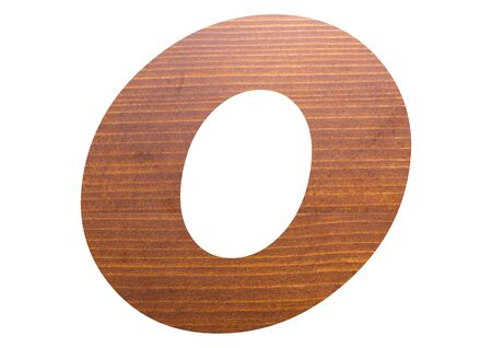 Letter O with wooden texture on white background.