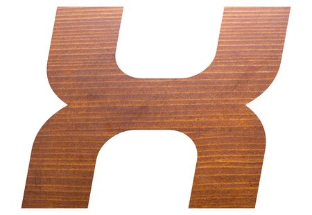 capital letter X alphabet with brown wooden texture on white background.