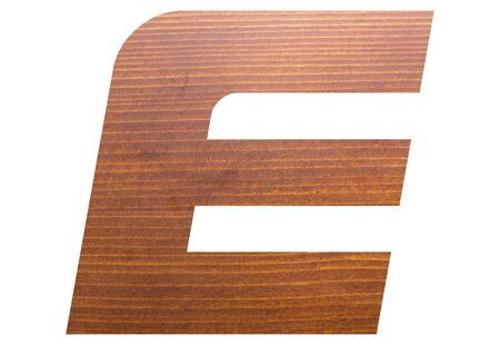 capital letter E alphabet with brown wooden texture on white background.