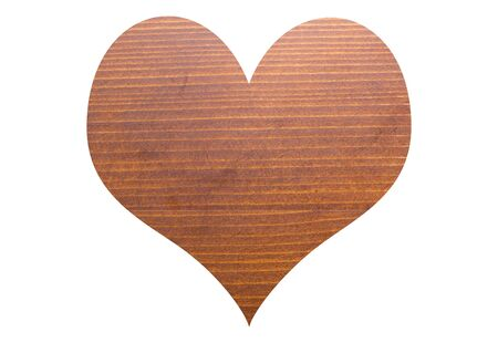 wooden heart shape on white background. 写真素材