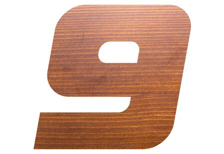 Number 9 with wooden texture on white background. 写真素材