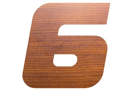 Number 6 with wooden texture on white background.