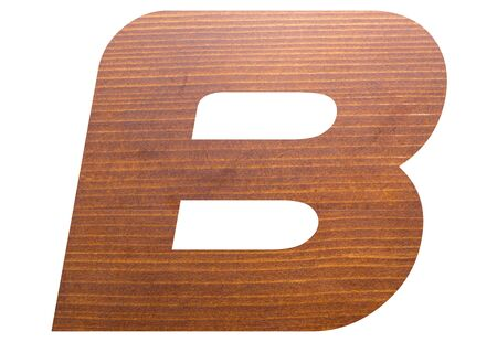 Capital letter B with brown wooden texture on white background.