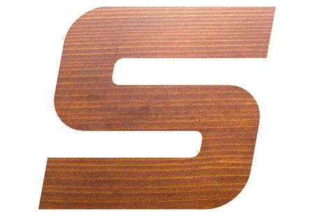 letter S alphabet with brown wooden texture on white background.