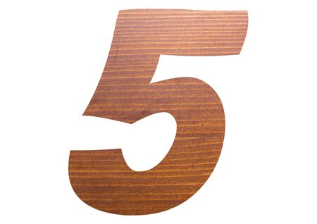 Number 5 with brown wooden texture on white background.