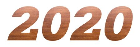 Year 2020 with brown wooden texture on white background. 写真素材