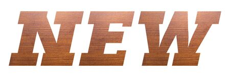 NEW word with brown wooden texture on white background.